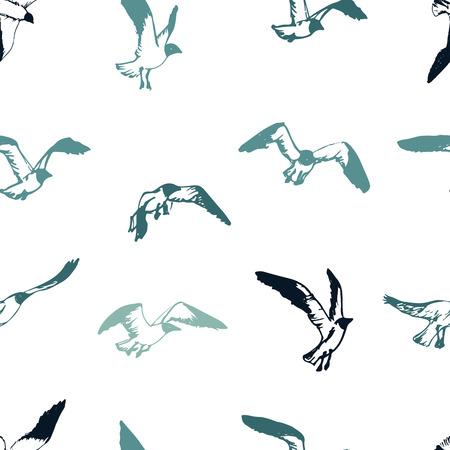 Seagull seamless pattern. flying birds background. Sketch seabirds.