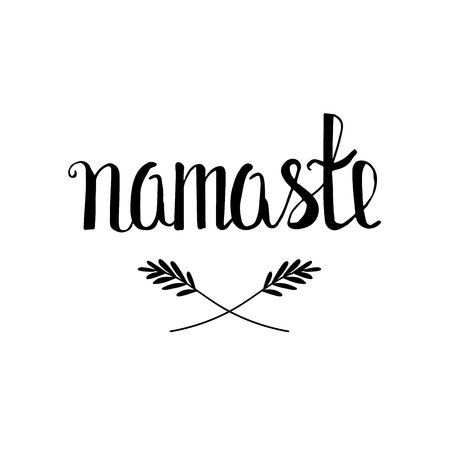 Namaste lettering. Hello or welcome in India, Asia. calligraphic text on white background. Illustration