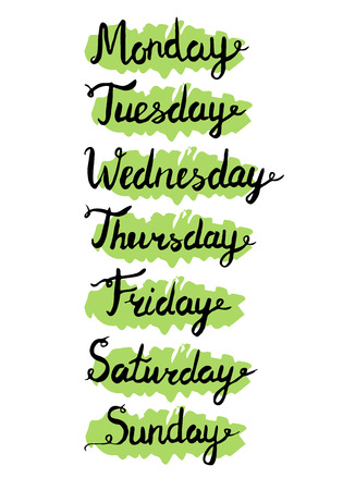 thursday: weekdays. Seven days lettering. Calendar. days of the week Monday, Tuesday, Wednesday, Thursday, Friday, Saturday, Sunday. Lettering of calendar list.