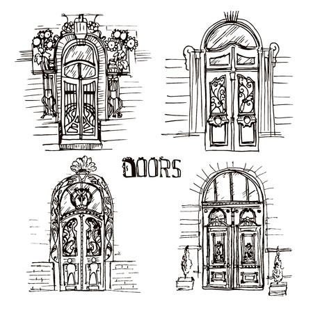 illustratie van verschillende oude deuren. Sketch stijl vintage deuren. Unieke en deur collectie op de witte achtergronden. Vector Illustratie