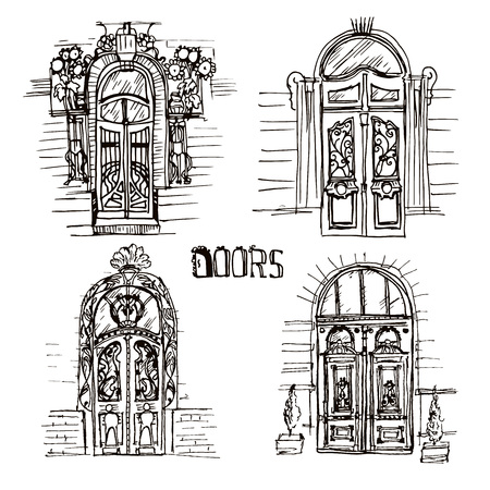 old doors: illustration of different old doors. Sketch style vintage doors. Unique and door collection on the white backgrounds. Illustration