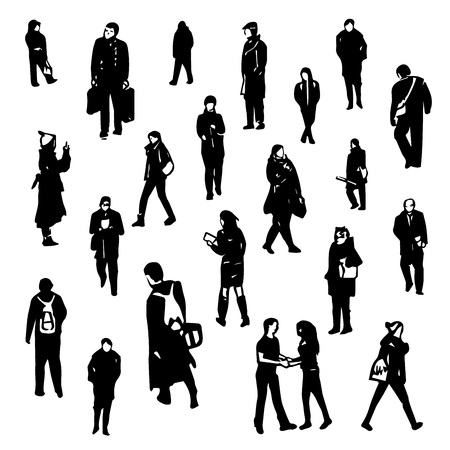 different figures: Collection of peoples figures. Different characters and poses on white background. Illustration