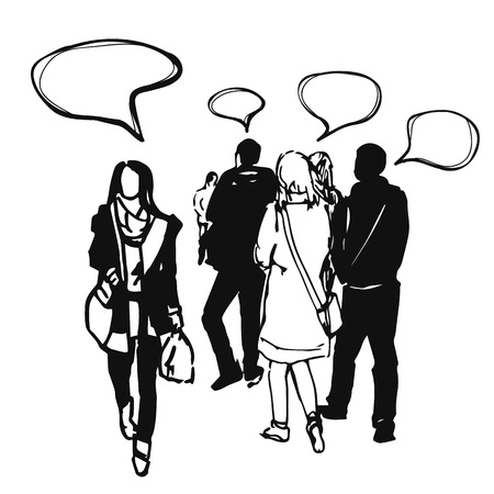illustration of people group, who think about something. Unique persons with different thoughts.