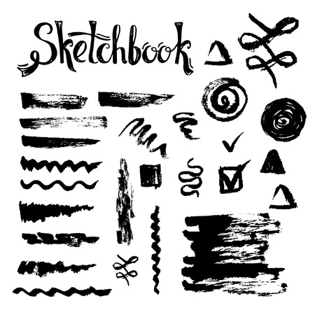 smears: Sketch brushes and decorative elements. Natural smears and strokes for design on the black background. Illustration