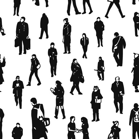 Seamless pattern of peoples figures. Different characters and poses on white background.