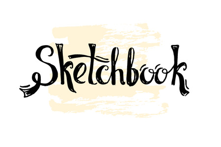current: Sketchbook word in lettering style. Cover for notebook or notepad. Modern current trend in the drawing. Illustration