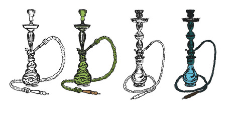 vaporized: hookah collection on the white background. Artistic style sketch of smoking instrument.