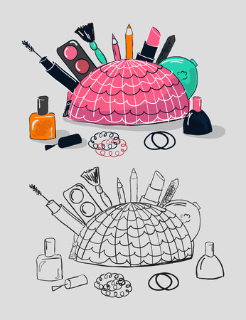 Illustration of cosmetics in pink bag. Women daily cosmetic tools. Mascara, lipstick, pencil, nail and eyeshadow drawn in cartoon style