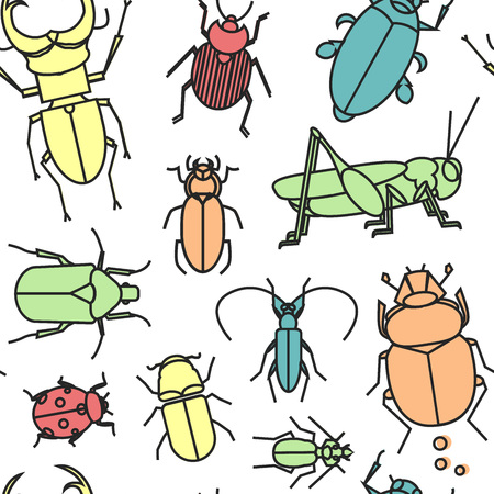 stag beetle: Seamless pattern with cute linear bugs and insects. Grasshopper, ladybug, scarab, stag beetle and other insects. Illustration