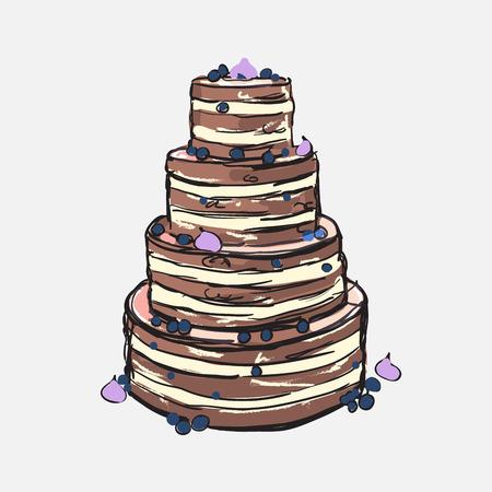 Illustrazione della torta con mirtilli e crema bianca. disegno torta nuziale al forno. Vettoriali