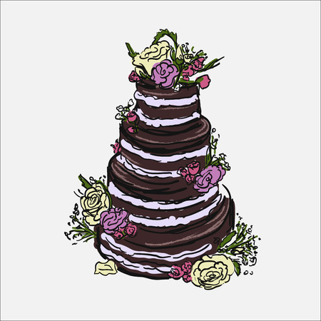 white cream: Illustration of cake with purple flowers and white cream. Baked wedding cake design.