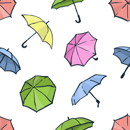Seamless pattern with umbrellas. Cute colorful autumn background. Different umbrellas.