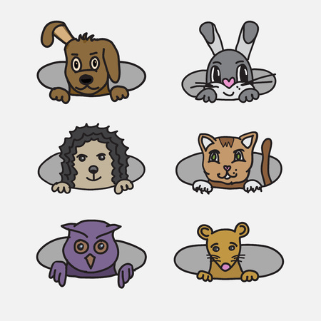 Cute funny doodly illustration of different animals. Animal portraits. Pets peeking out from holes. Illustration
