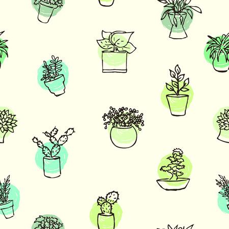houseplants: Houseplants drawing background. Illustration
