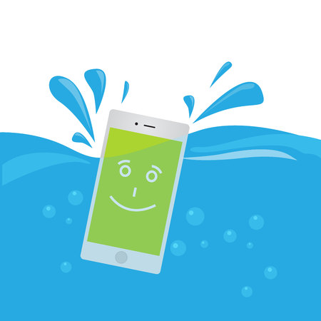 Phone waterproof flat illustration. Smiling phone in water. Good protection from water.