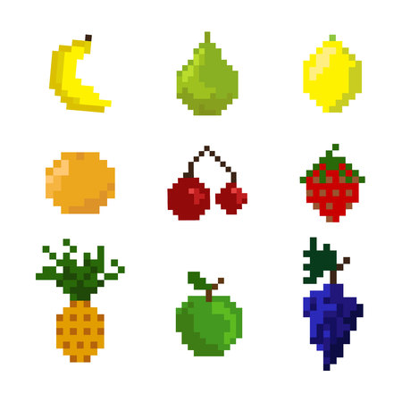 genuine: Pixel fruits on the white background. Collection of fruits for game or other