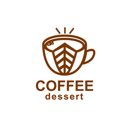 Coffee and dessert icon. Linear stylish logo for cafe or cafeteria. Cup of coffee with a cake.
