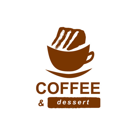 Coffee and cake logotype. Brand design for cafe or cafeteria. Cup of coffee with a cake.