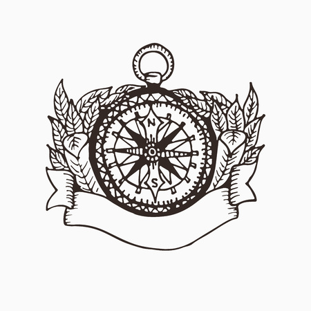 old items: Hand drawn compass illustration with ribbon for text and leaves around. Drawing sketch of compass composition using on map or for print. Instrument for navigation. North direction narrow
