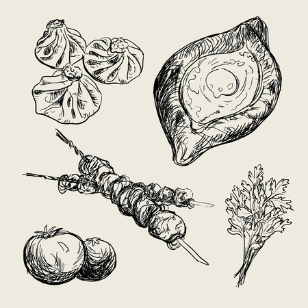 Hand drawn illustration of Georgian national food and dishes. Collection for georgian restaurant. Khinkali, khachapuri, shashlik, barbecue, meat. National meal. Stock Illustratie