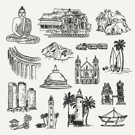 Cities and elements of Sri Lanka. Hand drawn vector illustration of sri lankan places. Temples, building and objects. Cultural elements.