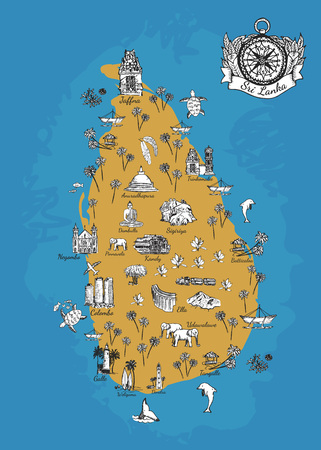 Drawing Sri Lanka map. Original map of Sri Lanka island. Unique vector hand drawn map with cities and elements. Geographic illustration for print. Sri Lanka poster or postcard with a compass 일러스트