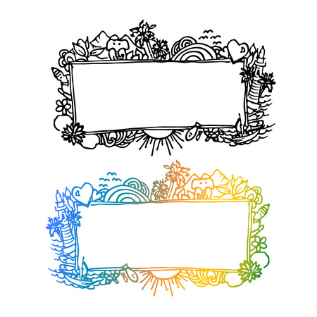Vector doodle frame with asian elements. Tropic style sketch decorative frame.