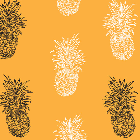 Hand drawn pineapple seamless pattern on the yellow background. Cute pineapple sketch. Tropic fruit style.