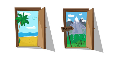 Vector illustration of doors with sea and mountains inside. Motivating touristic poster. Weekend, rest and active life. Travel choice.