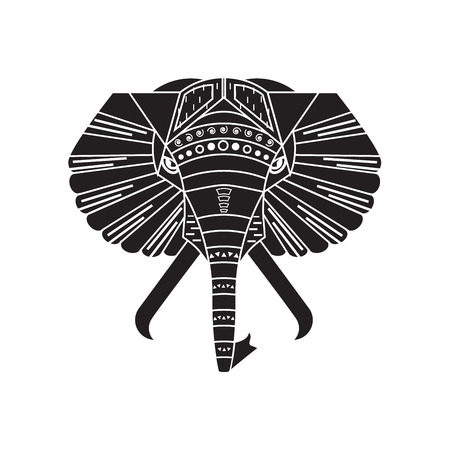 Linear vector illustration of black elephant head on the white background. Boho style tattoo. Illustration