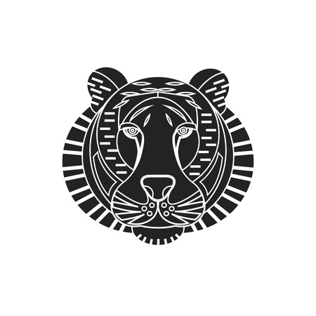 Linear vector illustration of black tiger head on the white background. Boho style tattoo. Animal portrait.