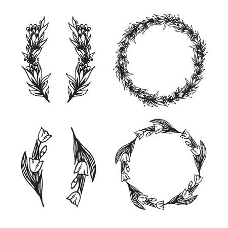手描きの花の要素とカード、テキスト、招待状の装飾用フレーム。  イラスト・ベクター素材