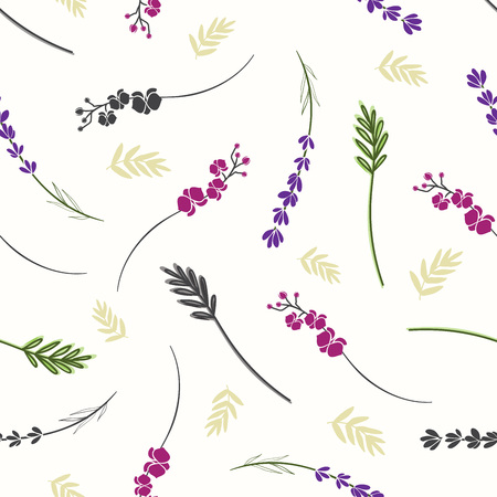 Seamless background with twigs of lavender, orchid and leaves. Beautiful floral pattern. Illustration