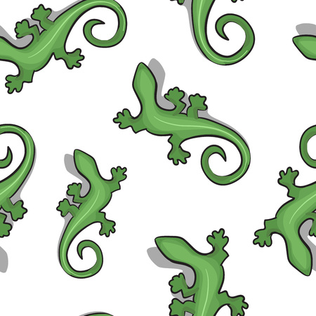 Seamless pattern with green geckos lizard on the white background. Stylish cute background.
