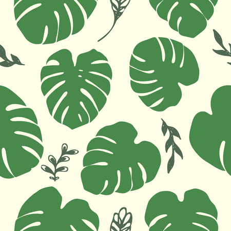 Green tropical monstera leaves seamless pattern. Unique plant leaves background for print.