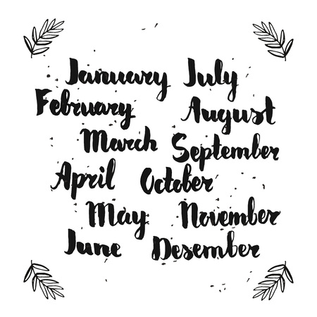 Hand lettering of months. Sketch for calendar or planner.