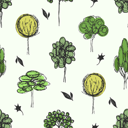 Seamless background with different trees. Hand drawn forest pattern.