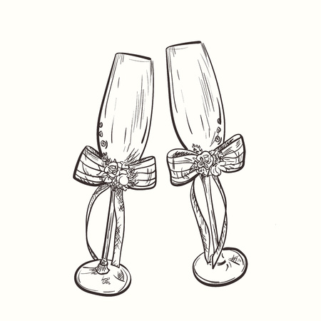 Hand drawn sketch of wedding wineglasses with flowers and ribbons. Wedding elements for decoration.