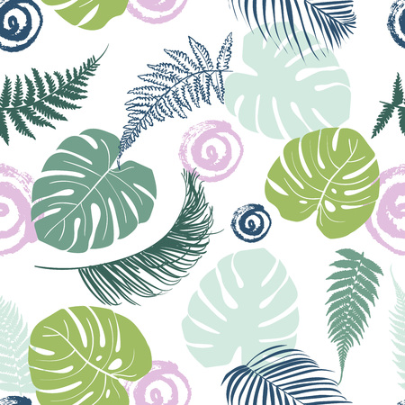 Tropical leaves seamless background. Cute multicolor pattern with exotic leaves for decoration and print.