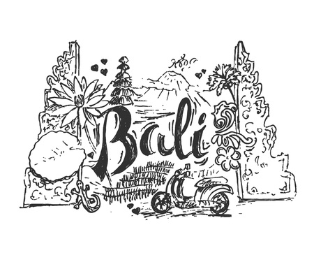 Drawing illustration of Bali island with different cultural elements and places. Hand drawn style picture for postcard.