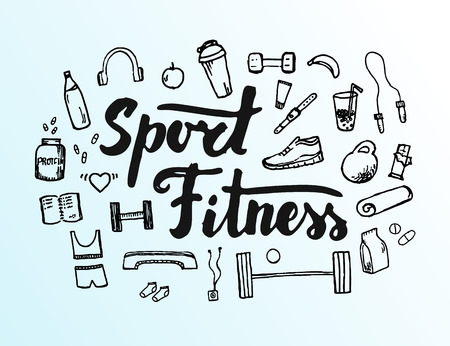Hand drawn fitness doodle icons and elements. Sports objects and equipment sketch with hand lettering.  イラスト・ベクター素材