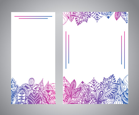 Leaflet flyer template with hand drawn sketch of leaves ornament. Drawing background for your design with floral decor.  イラスト・ベクター素材