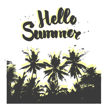 Palm silhouette with hand lettering hello summer. Vacation motivating poster or card. Vintage wild jungle black and white style.  イラスト・ベクター素材