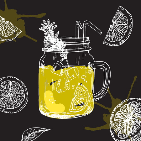 Illustration of lemonade drink with lemon pieces on the black background. Cute drawing of juice for summer menu.  イラスト・ベクター素材