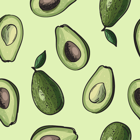 Seamless avocado background. Drawing vector pattern with avocado fruit.