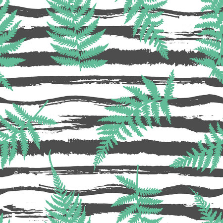Horizontal striped vector seamless pattern with fern leaves. Different black hand drawn brush stripes and lines. Tropical style decoration.