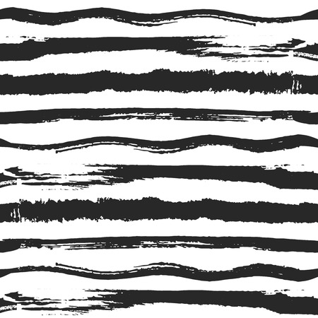 Horizontal striped vector seamless pattern. Hand drawn brush background on sketch style. Different black ink stripes and lines.