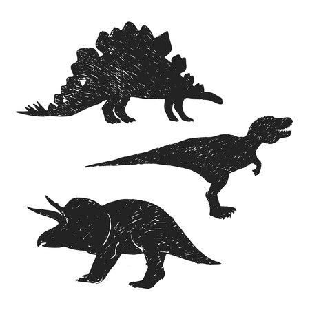 Sketch of dinosaurs shapes and forms. Hand drawn stegosaurus, triceratops and tyrannosaurus isolated set.