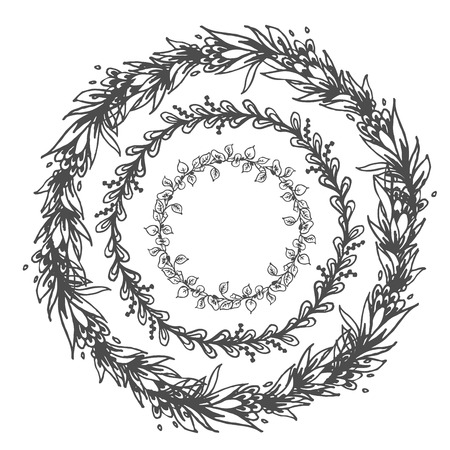 Vector hand drawn floral wreath. Round drawing floral frames isolated on a white background. Graphic design with place for text for wedding, prints, decoration, greeting cards.