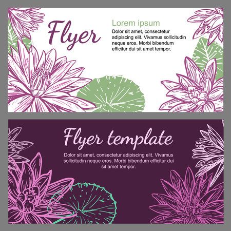 Vector leaflet template with lotuses or Nymphaea and space for text. Design for a business card, brochure, banner, spa salon, flower shop, beauty salon, boutique, cosmetics, fashion, yoga.